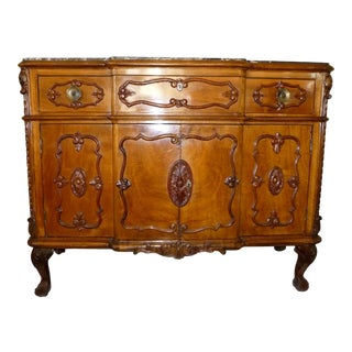 French Buffet Sideboard Credenza With Marble Top