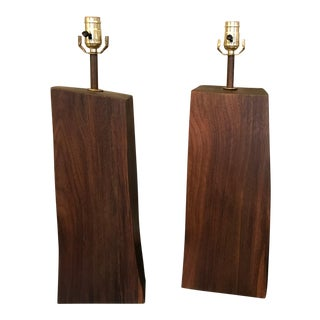Black Walnut Table Lamps - A Pair