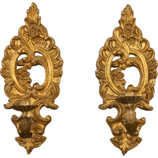 Pair of French One Candle Carved Gilt Wood Sconces