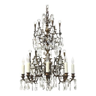 Bohemian Bronze and Crystal Eight Light Chandelier