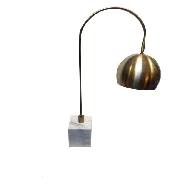 Image of Retro Marble & Brass Arc Table Lamp