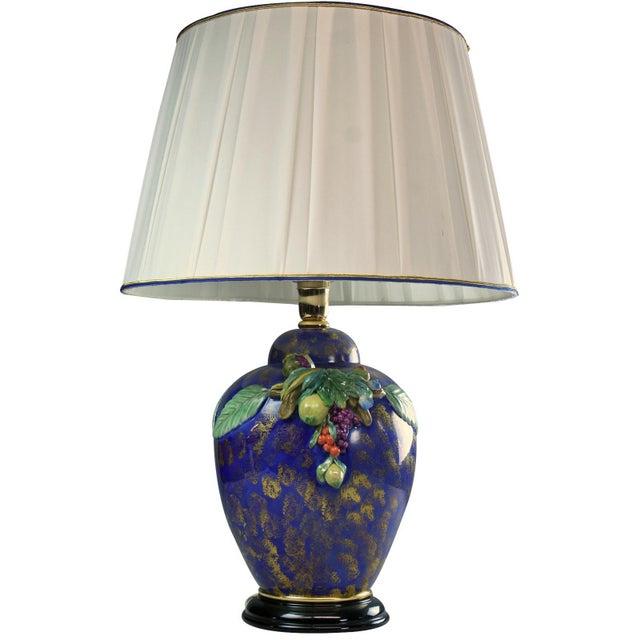 Italian Majolica Hand-Painted Blue Table Lamp - Image 1 of 8