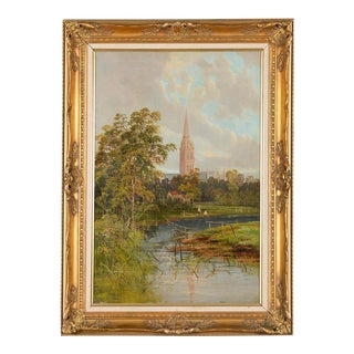 Antique German Gothic Town Oil Painting
