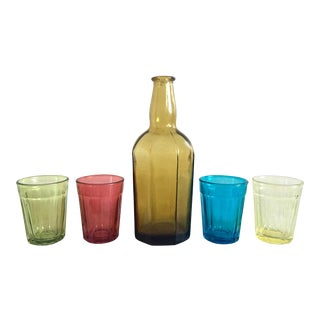 Mid Century Rainbow Sake Set Shot Glasses - S/5