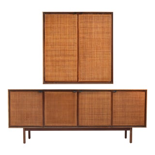Teak Cane Front Credenza and Cabinet by Founders