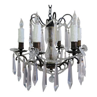 French Bronze & Cut Crystal Chandelier