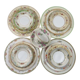 Vintage Mismatched Fine China Dinnerware - Service for 4 - 28 Piece Set