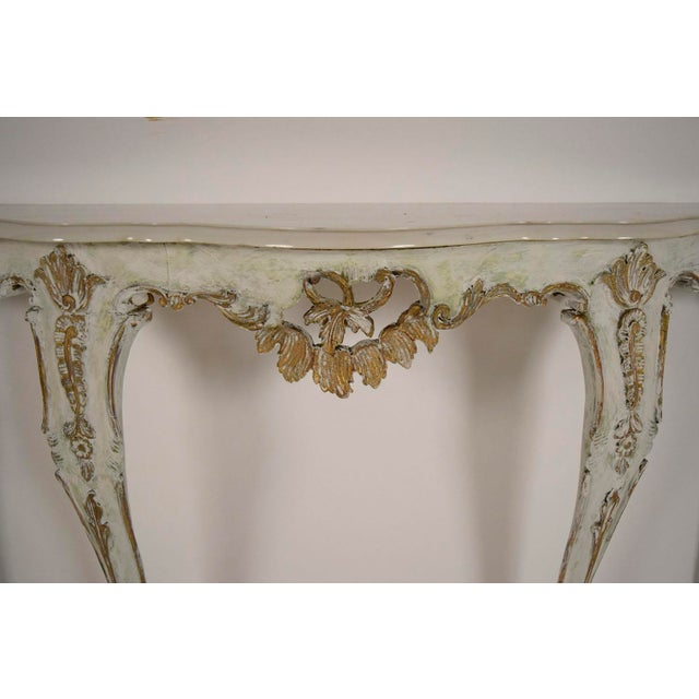 Louis XV-Style Italian Marble Top Wall Console - Image 4 of 8