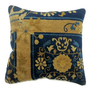 Blue Chinese Peking Rug Pillow