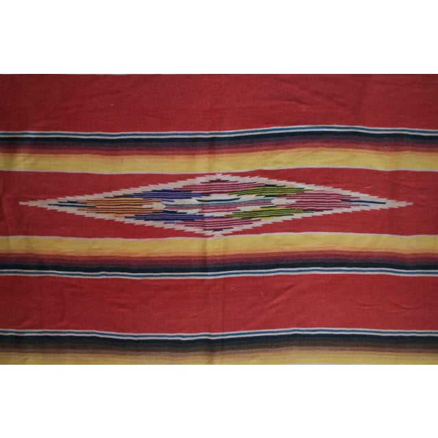 Vintage Mexican Saltillo Serape Blanket Throw - Image 5 of 8