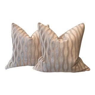 Pewter Cut Velvet Pillows - A Pair
