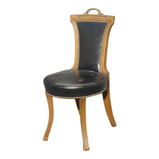 Vintage 1964 Hickory Chair Co. Black Leather Accent Chair