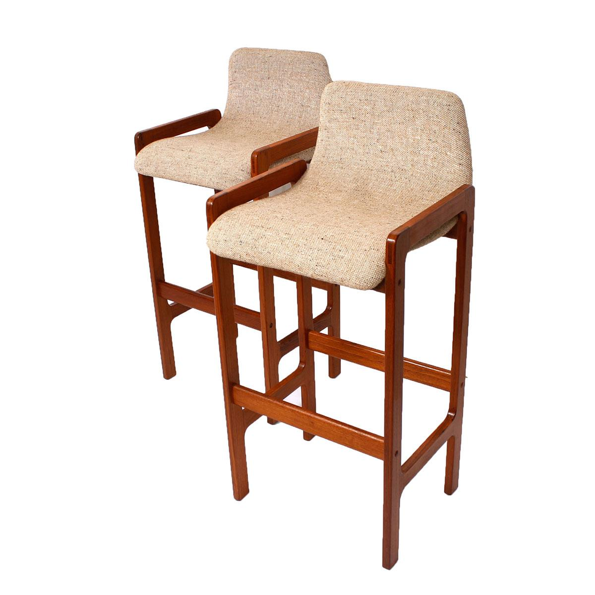 Danish Modern Teak Bar Stools A Pair Chairish