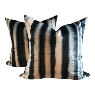 Indigo Romo Velvet Pillows - A Pair