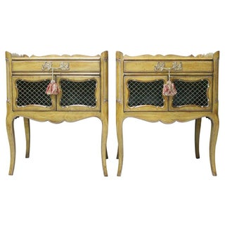 French Style Walnut Side Tables - Pair