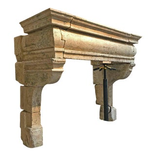Antique Traditional 17th Century Limestone Mantel - Grande Bombe