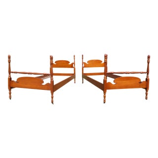 Antique Solid Cherry Twin Poster Beds - A Pair