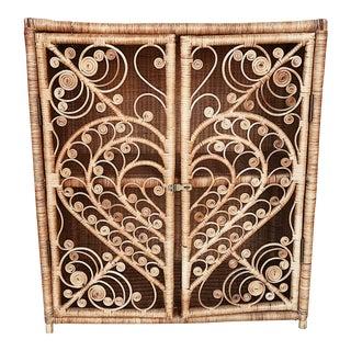 Vintage Heart Rattan Cabinet
