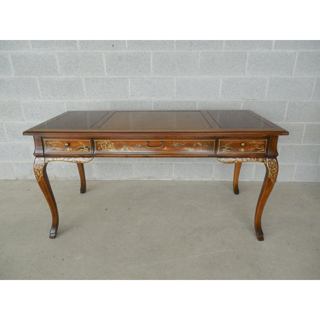 Image of Drexel Et Cetera Chinoiserie Tooled Leather Top Writing Desk