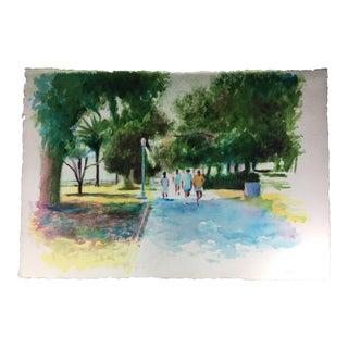 Santa Monica Palisades Park Watercolor Painting on Paper