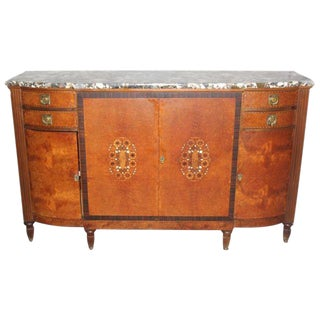 Classic French Art Deco Burl Wood & Macassar Ebony Sideboard