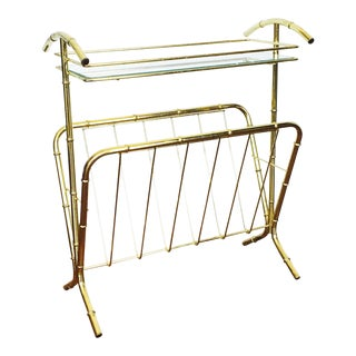 Vintage Brass Bamboo Side Table and Magazine Rack