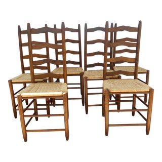 Vintage French Ladder Back Dining Chairs - Set of 6