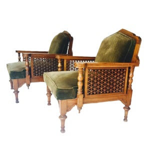 Vintage Moroccan Club Chairs - A Pair