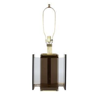 Paul Hanson Brass & Smoked GlassTable Lamp