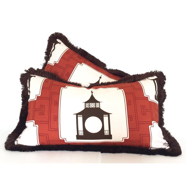 Fringed Folly Pillows - A Pair - Image 3 of 5
