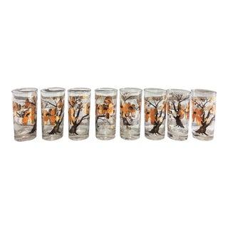 Vintage Culver Asian Lotus Tree Glasses - Set of 8