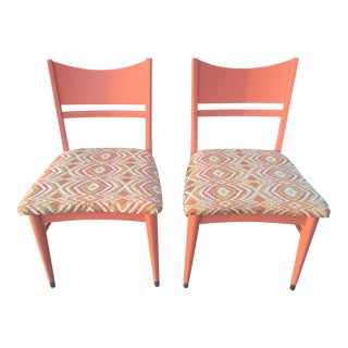 Pair of Mid Century Atomic Salmon Pink Palm Springs Style Chairs