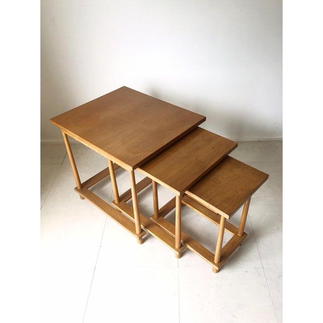 T h robsjohn gibbings nesting tables set of 3 chairish for Table th width ignored