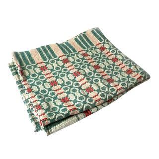 Antique Green & Orange Jacquard Wool Blanket