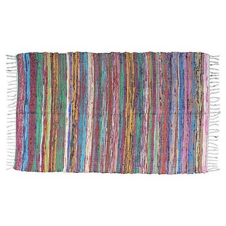 Striped Moroccan Boucherouite Rug - 6' x 4'