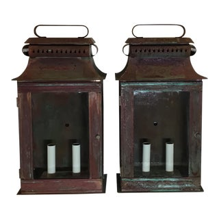 Architectural Wall Hanging Lanterns - A Pair