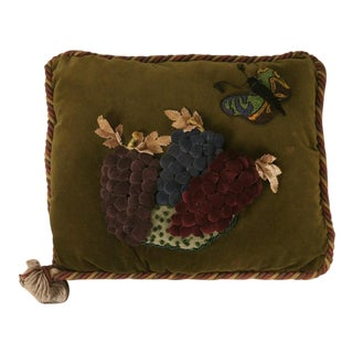 Vintage English Velvet Pillow w/Grapes & Butterfly