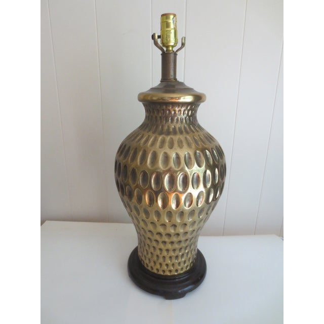 Large Brass Table Lamp With Thumbprint Design - Image 2 of 5