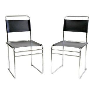 Bauhaus Marcel Breuer B5 Black Leather Chairs - A Pair