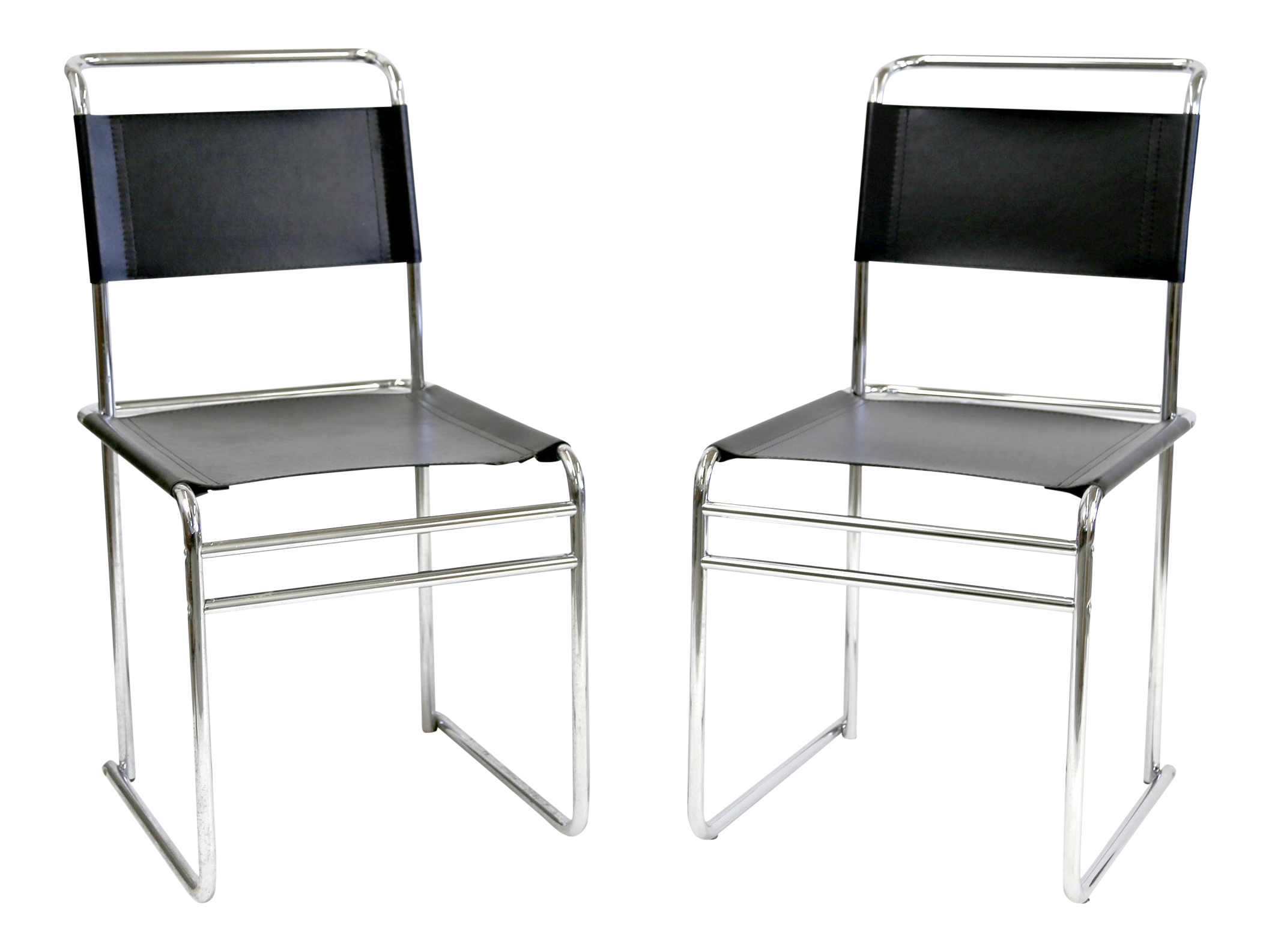 bauhaus marcel breuer b5 black leather chairs a pair