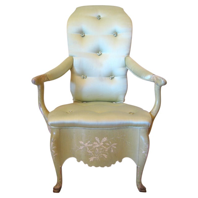 Pale Green Painted Victorian Armchair - Image 1 of 7