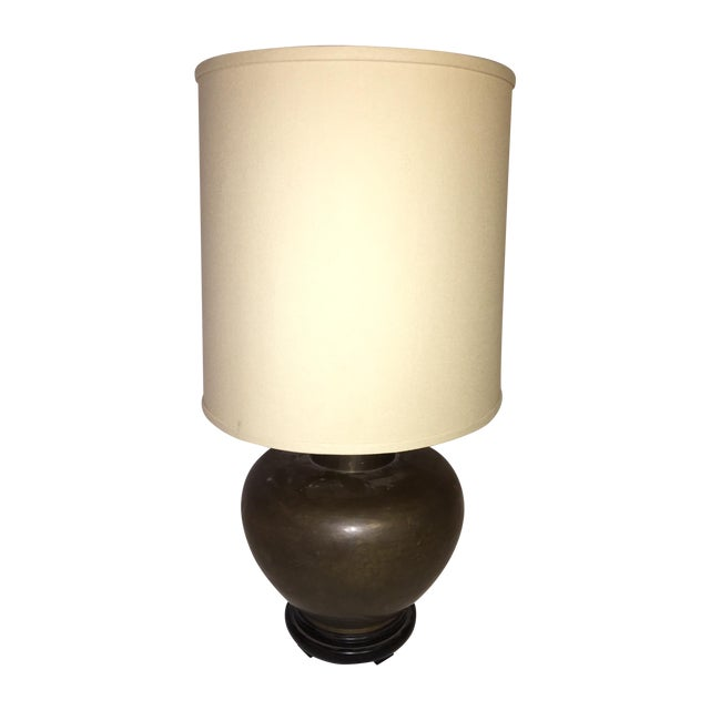 Round Mid-Century Brass Table Lamp - Image 1 of 3