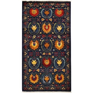 "Suzani Hand Knotted Area Rug - 4' 2"" X 7' 9"""