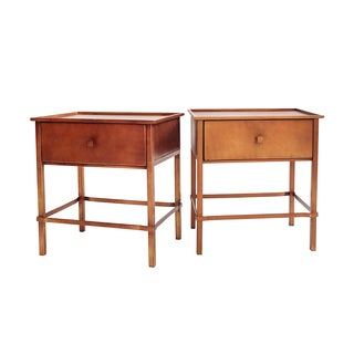Dark Brushed Metal Nightstands - Pair