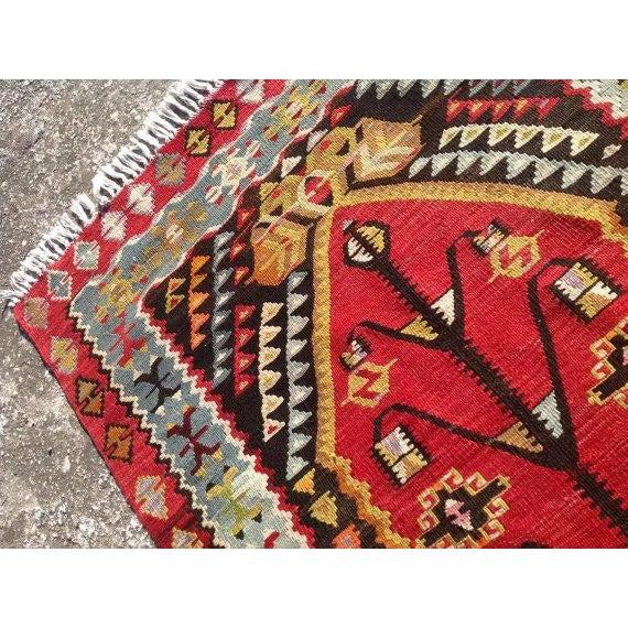 "Image of Vintage Red Turkish Kilim Rug - 2'12"" x 4'9"""
