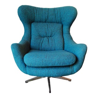 Mid-Century Modern Turquoise Egg Chair