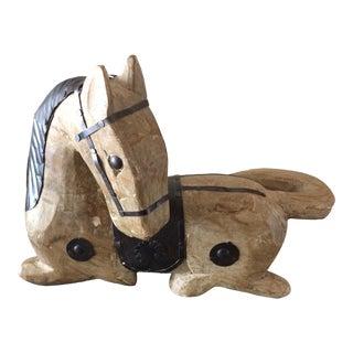 Wooden Horse with Tin Saddle, Bridle, Mane Overlay
