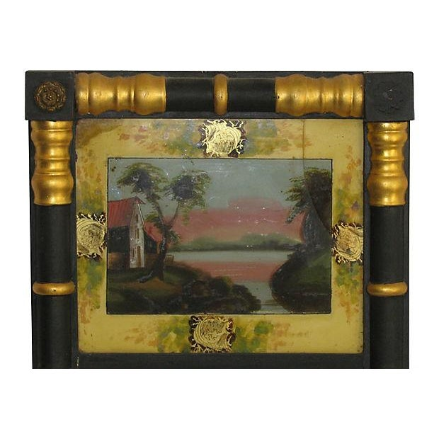 Vintage Sheraton-Style Verre Eglomisé Gilt Mirror - Image 2 of 3