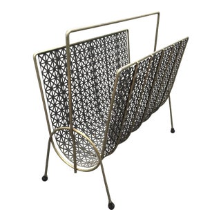 Mid-Century Brass and Black Metal Magazine Rack