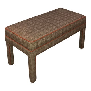 Houndstooth & Orange Upholstered Bench